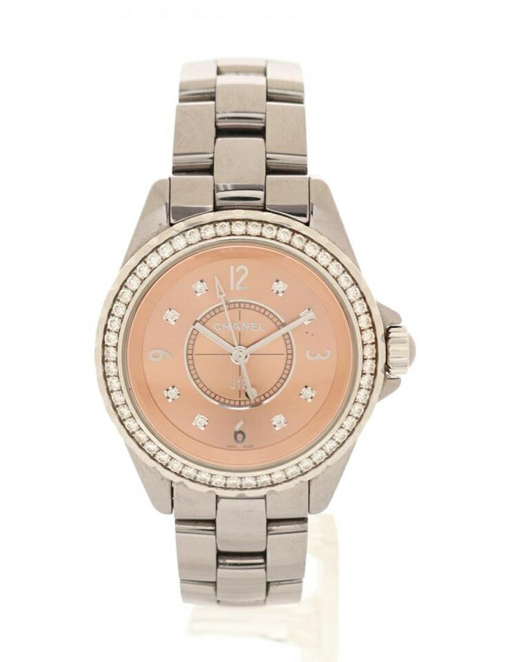 CHANEL シャネル J12 クロマティック レディース 腕時計 H2563 クオーツ SS ダイヤモンド シルバー ダイヤベゼル 8Pダイヤモンド ベージュ文字盤