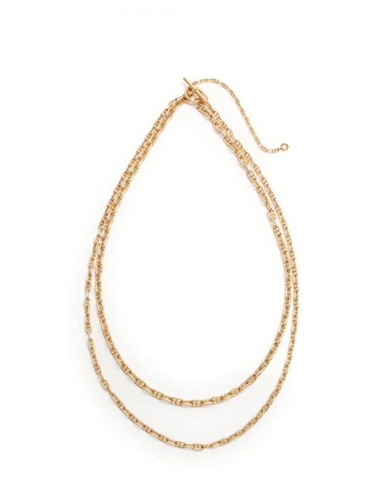 HERMES エルメス シェーヌダンクル 1Pダイヤモンド ネックレス YG K18 イエローゴールド