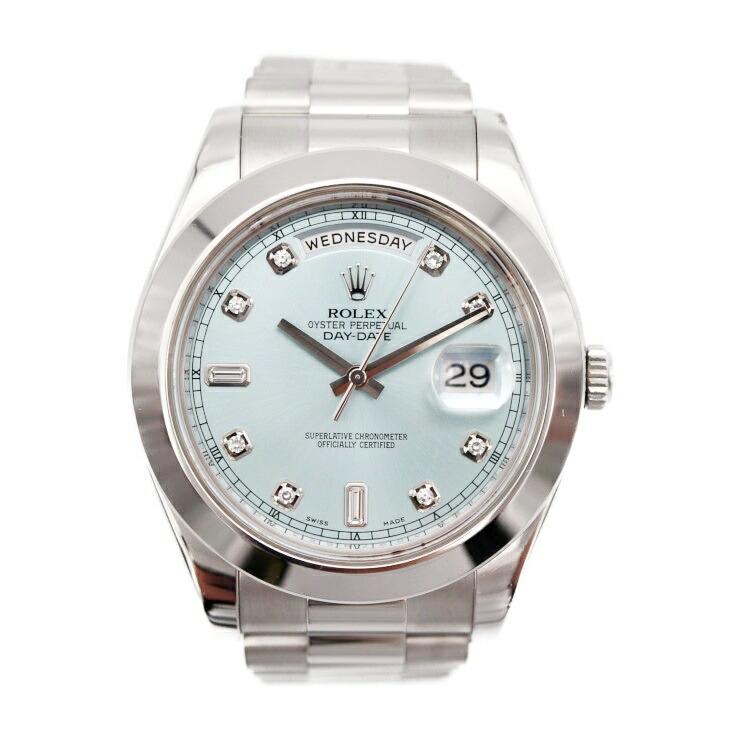 ROLEX ロレックス デイデイト II 218206A アイスブルー文字盤 メンズ 腕時計 自動巻 PT