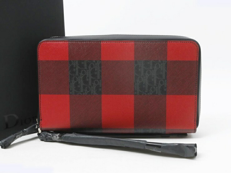 Dior HOMME ディオール オム クラッチバッグ セカンドバッグ 2DEBC032XL キャンバス レザー レッド ブラック