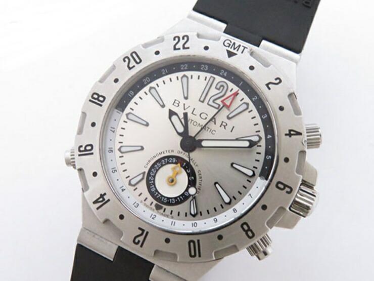 BVLGARI ブルガリ ディアゴノ プロフェッショナル エア メンズ腕時計 GMT40C5SVD SS×ラバー シルバー文字盤