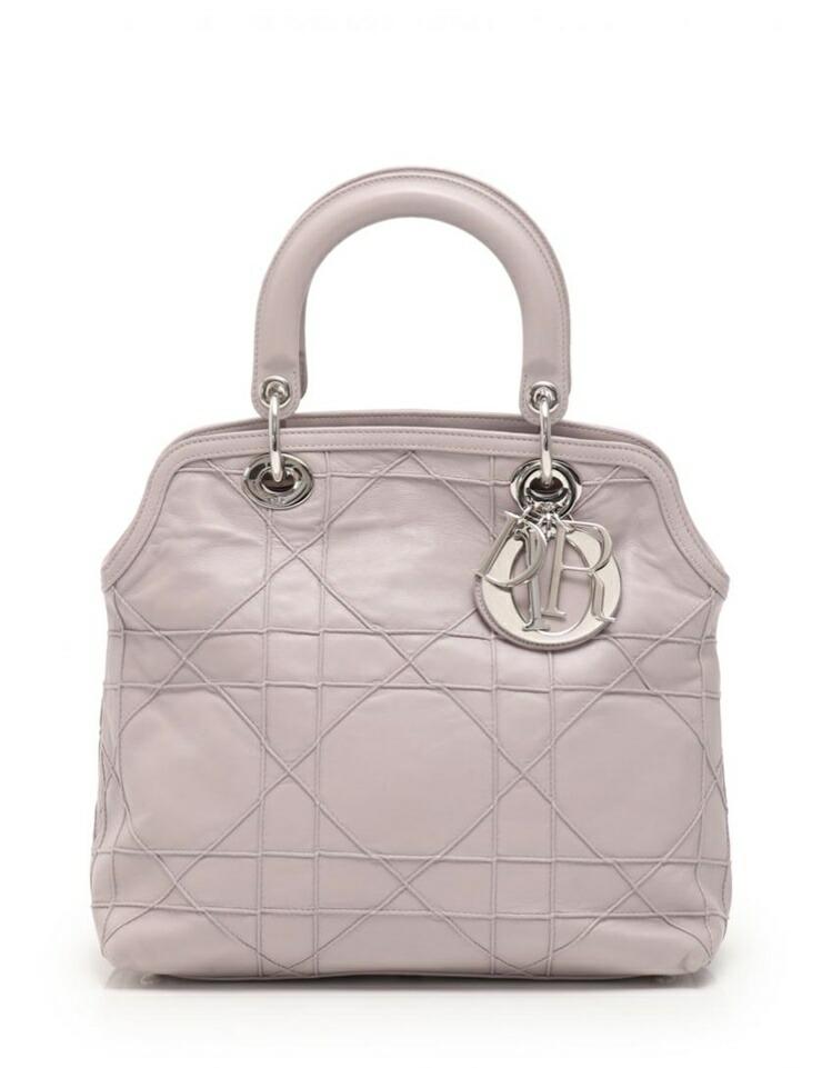 Christian Dior クリスチャンディオール グランヴィル ハンドバッグ レザー グレーパープル 2WAY