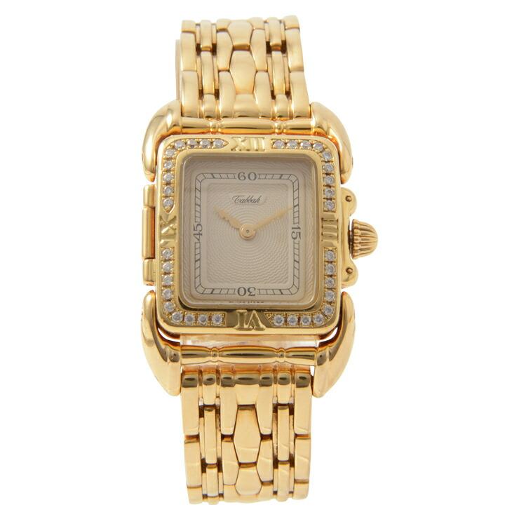 Tabbah タバー サガ レディース クオーツ 腕時計 18K ダイヤ イエローゴールド アイボリー文字盤