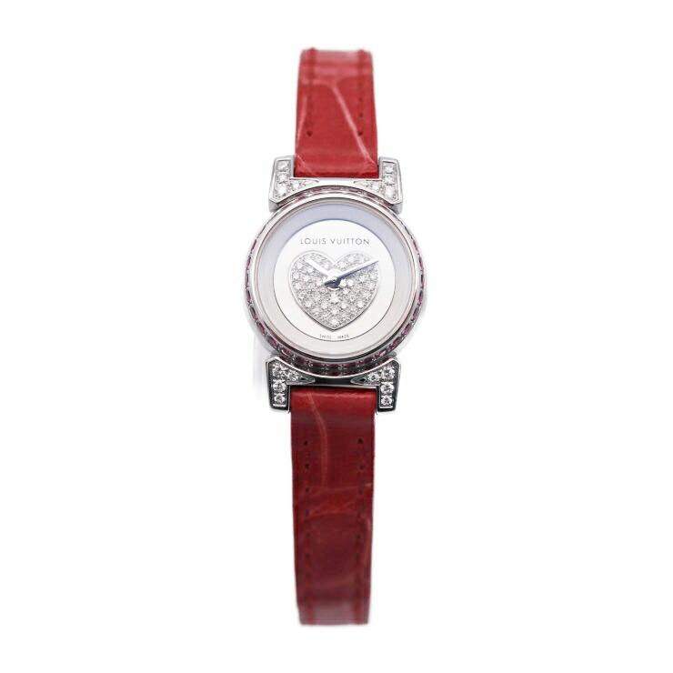 LOUIS VUITTON ルイヴィトン タンブール ビジュ Q151F SS シルバー文字盤 ダイヤ ルビー クォーツ レディース腕時計