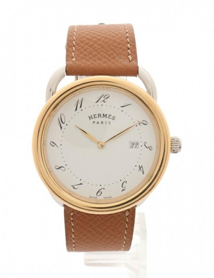 HERMES エルメス アルソー メンズ 腕時計 AR5.720A クオーツ SS レザー GP シルバー ゴールド 茶 白文字盤