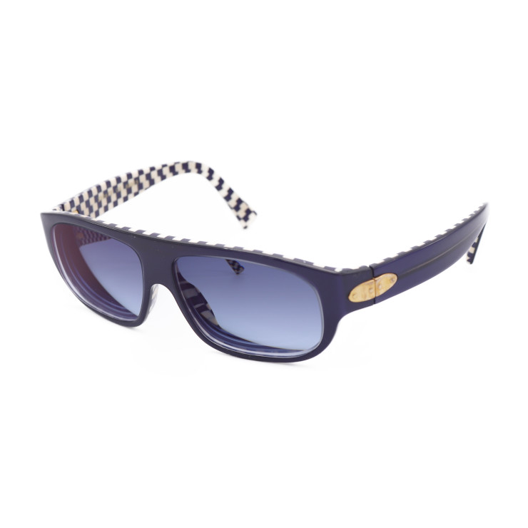 8e8b18bc5cd LOUIS VUITTON Sunglasses check with degree Louis Vuitton pattern grid  pattern blue white gold for sun blanc rectangle checker Z0067E size 62 15