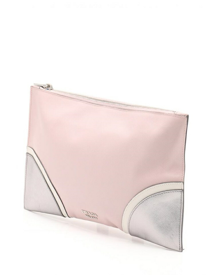 07179cef2afa New article unused exhibit item PRADA PRADA SAFFIANO LUX clutch bag BP  8668L saffieno leather pink white Silver