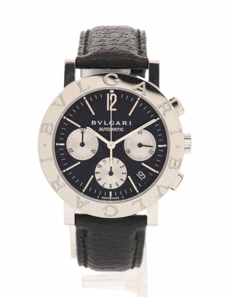 BVLGARI ブルガリブルガリ 腕時計 BB38SLCH メンズ 自動巻き SS シルバー 黒 黒文字盤