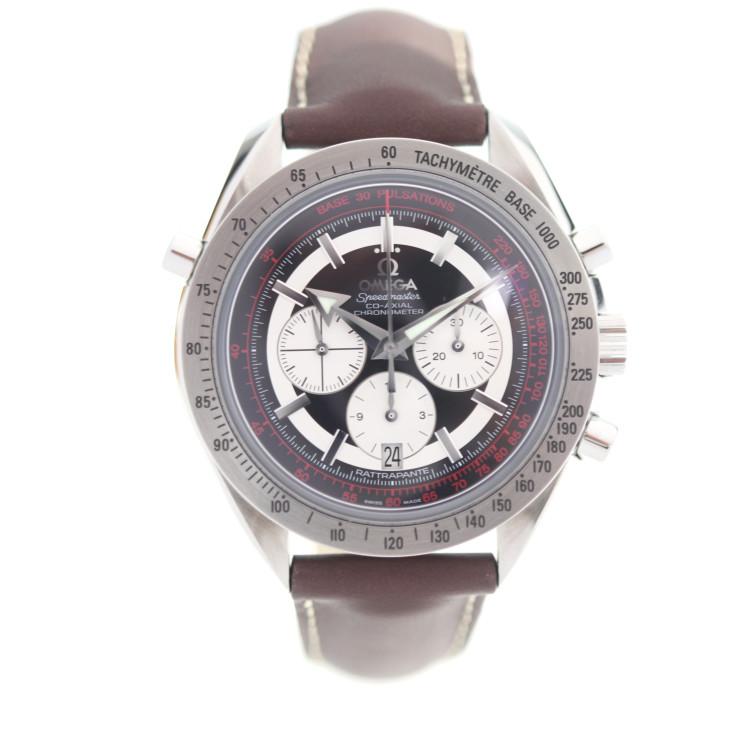 OMEGA オメガ スピードマスター ブロードアロー 3882.51.37 腕時計 ステンレススチール レザー ブラック文字盤 ブラウン