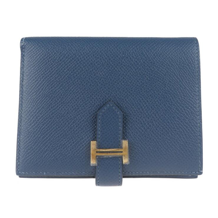 HERMES エルメス コンパクト ベアン 二つ折り財布 ヴォーエプソン ブルー系 D刻印
