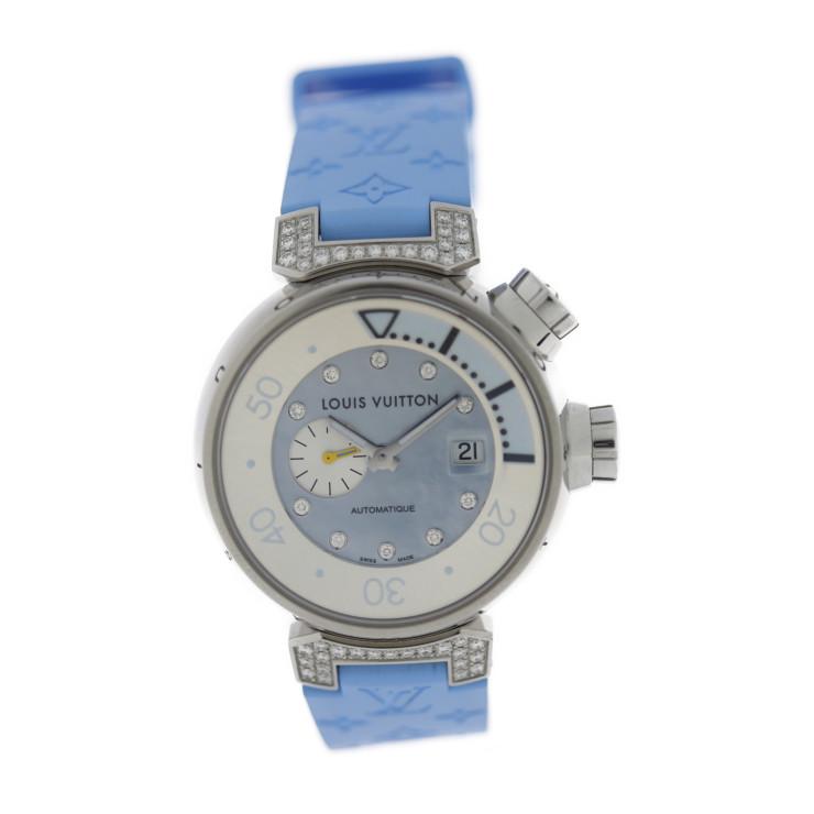 LOUIS VUITTON ルイ ヴィトン タンブール オートマティック Q1330 腕時計 ステンレススチール ダイヤモンド ラバー シルバー ブルーシェル文字盤
