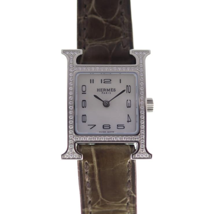HERMES エルメス Hウォッチ HH1.131 腕時計 ステンレススチール アリゲーター シルバー ホワイトシェル文字盤 ベゼルダイヤ レディース クォーツ