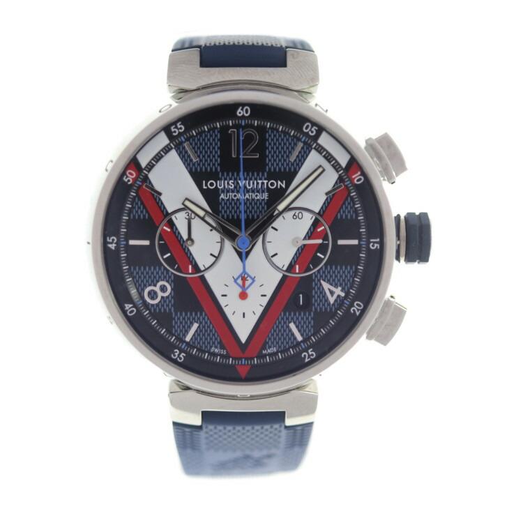 LOUIS VUITTON ルイ ヴィトン タンブール クロノグラフ ダミエコバルト QA076Z 腕時計 ラバー シルバー ブルー 自動巻