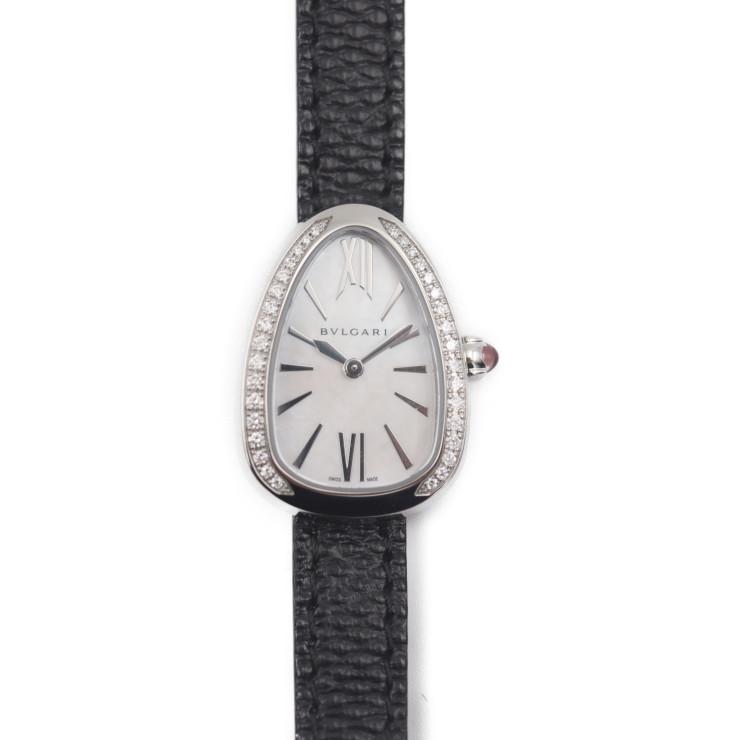 BVLGARI ブルガリ セルペンティ27 SPS27WSDL 腕時計 ステンレススチール ホワイトシェル文字盤 シルバー ブラック ダイヤベゼル