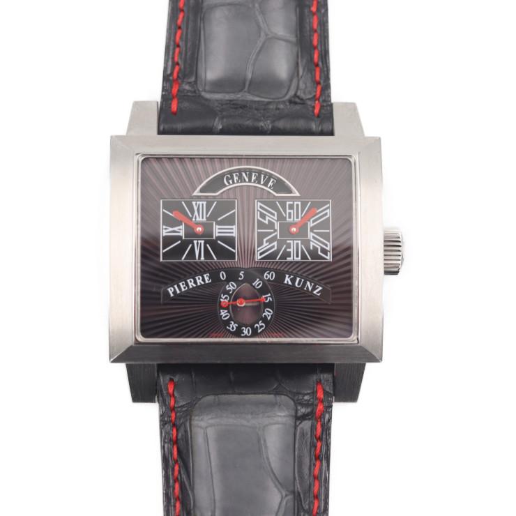 PIERRE KUNZ ピエールクンツ PIERRE KUNZ PKN018SVR 腕時計 ステンレススチール 革 ブラック ヴィルヴォルタント・レトログラード
