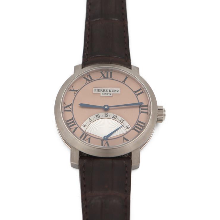 PIERRE KUNZ ピエールクンツ PIERRE KUNZ PKA001SR 腕時計 WG ブラウン ピンク文字盤 レトログラード セコンドAT