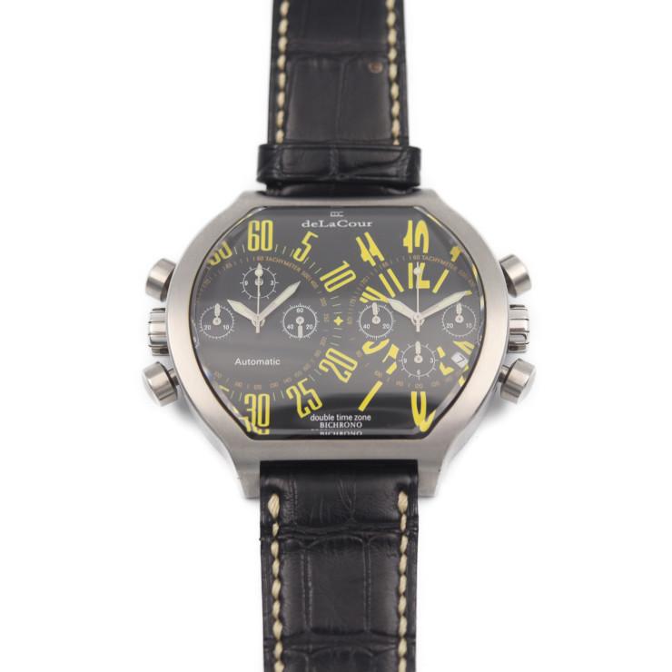de la cour ドゥラクール de la cour WAST1836 腕時計 ステンレススチール レザー ブラック ビクロノ ダブルタイムゾーン ダブルクロノ AT