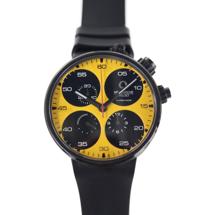 MECCANICHE VELOCI メカニケヴェローチ クアトロヴァルヴォレ W123K141 腕時計 チタン ブラック イエロー文字盤 クロノグラフ 自動巻 250本限定