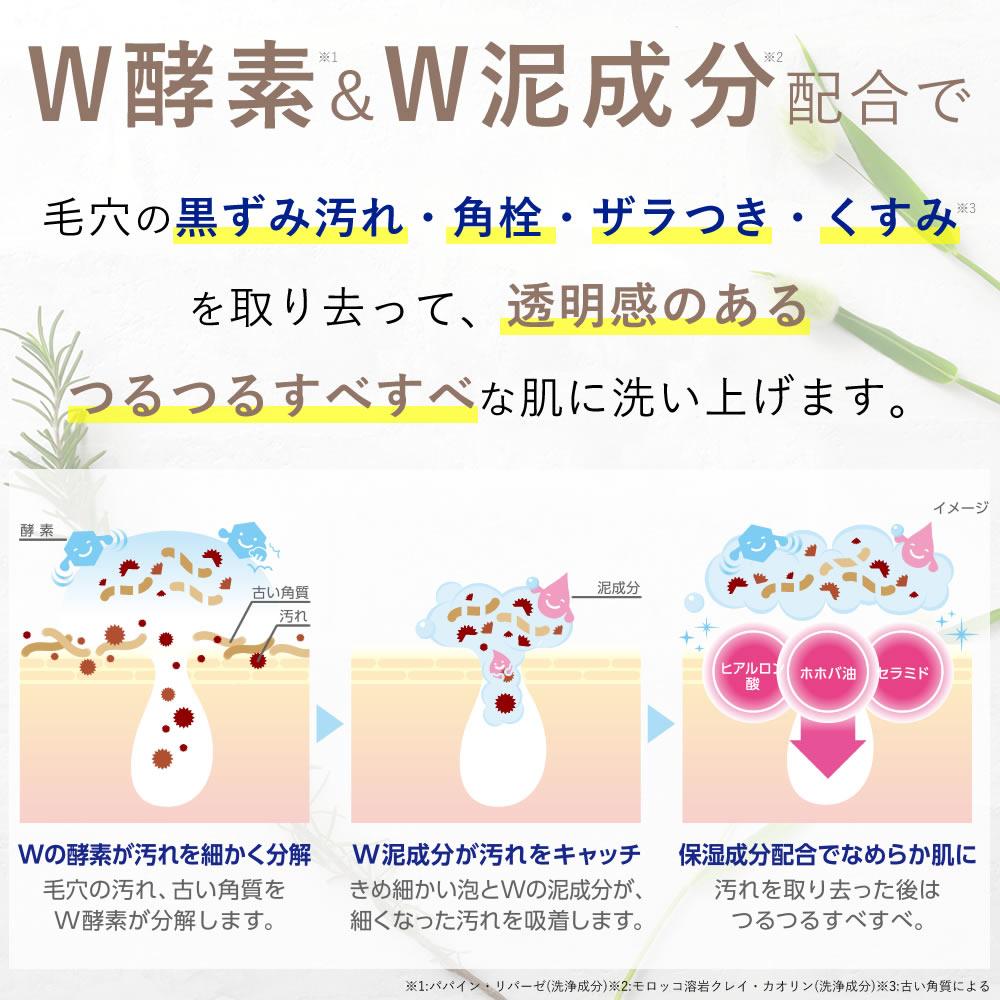 W酵素+W泥成分配合で、毛穴の黒ずみ汚れ・角栓・ザラつき・くすみを取り去って透明感のあるつるつるすべすべな肌に洗い上げます。パパイン・リパーゼ(洗浄成分)  モロッコ溶岩クレイ・カオリン(洗浄成分)