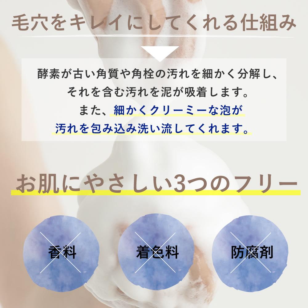 毛穴をキレイにしてくれる仕組み 酵素が古い角質や角栓の汚れを細かく分解し、それを含む汚れを泥が吸着します。また、細かくクリーミーな泡が汚れを包み込み洗い流してくれます。
