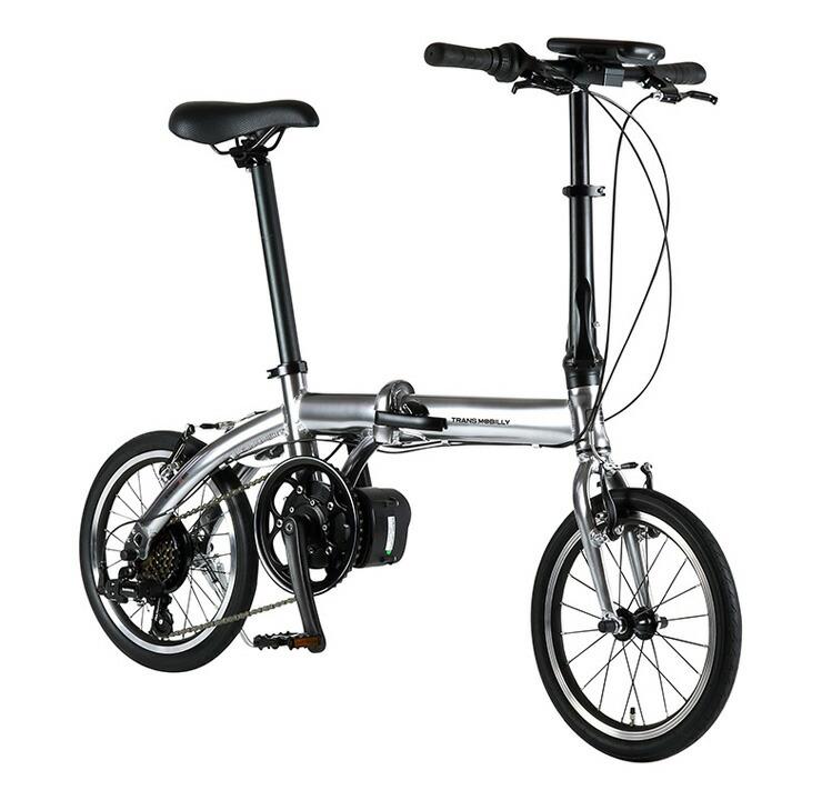 自転車 配送先一都三県一部地域限定送料無料 電動アシスト自転車 折りたたみ トランスモバイリー TRANS MOBILLY ULTRA LIGHT E-BIKE AL-FDB166E シルバー 16インチ 6段ギア コンパクト 軽量