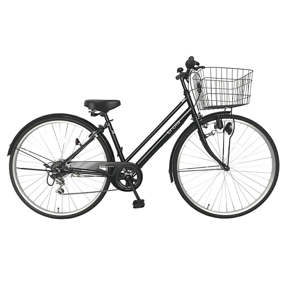 次回入荷未定 自転車 シティサイクル ブラック/黒 自転車trois トロワ ママチャリ6段変速ギア 27インチ パラレルフレーム 鍵付き シティ車フレームで人気 激安 格安 変速付き