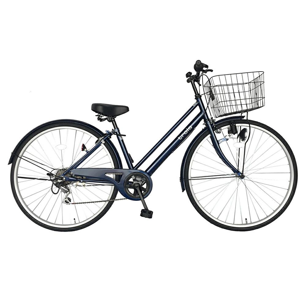 サントラスト自転車 シティサイクル(ネイビー)自転車trois(トロワ)ママチャリ【6段変速ギア 27インチ パラレルフレーム 鍵付き】<送料無料>シティ車 おしゃれ フレームで人気