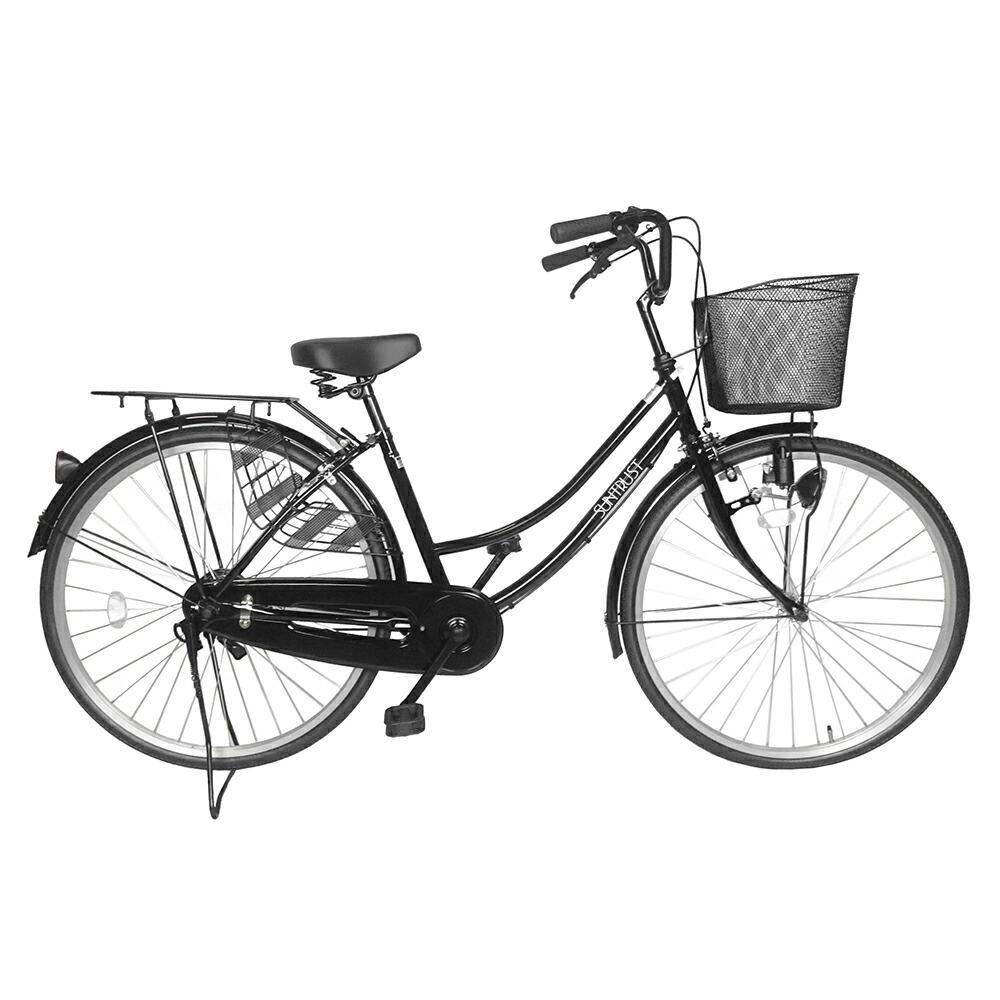次回入荷未定 自転車 シンプルフレームで大人気 ママチャリ サントラスト ママチャリ 軽快車 ブラック 黒 自転車 SUNTRUST シティサイクル すそ ギアなし 自転車 ダブルループフレーム ママチャリ 26インチ 鍵付き