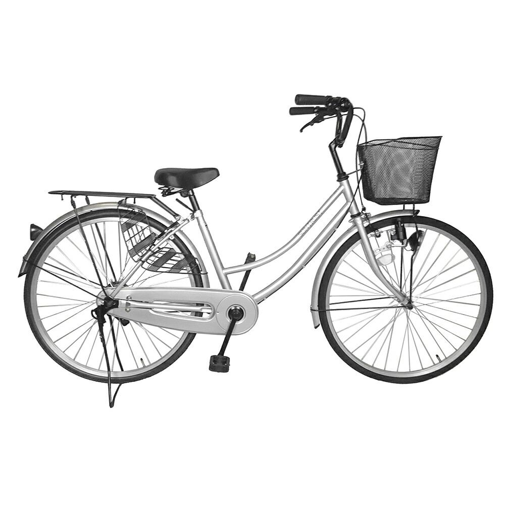 自転車 シンプルフレームで大人気 ママチャリ サントラスト ママチャリ 軽快車 シルバー/銀色 自転車 SUNTRUST -裾 SUSO すそ-ギアなし 自転車 ダブルループフレーム 26インチ鍵付き ママチャリ 通学用