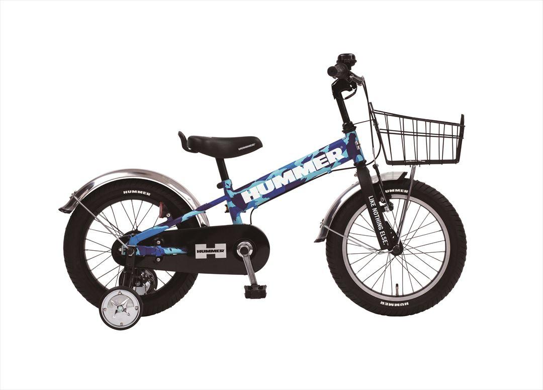 2018年モデル 子供用 マウンテンバイク ハマー HUMMER 自転車 幼児 補助輪付き 自転車 子ども用 自転車 迷彩 ブルー 16インチ 自転車 ギアなし 補助輪 泥除け かご付 ハマー KID'S TANK3.0-SEキッズ 自転車 ジュニア