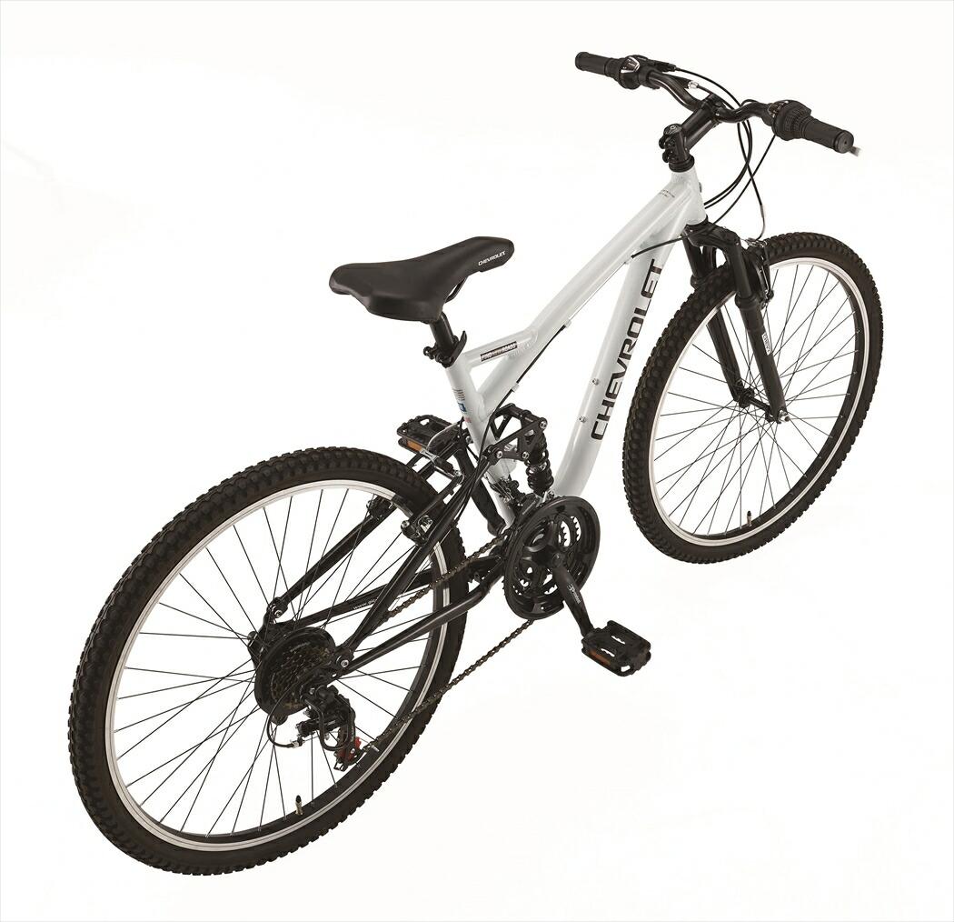 マウンテンバイク シボレー 自転車 ホワイト 白色 26インチ マウンテンバイク 外装18段変速ギア アルミ CHEVROLET CHEVY シェビー  自転車 シボレー AL-ATB2618EX アルミニウム