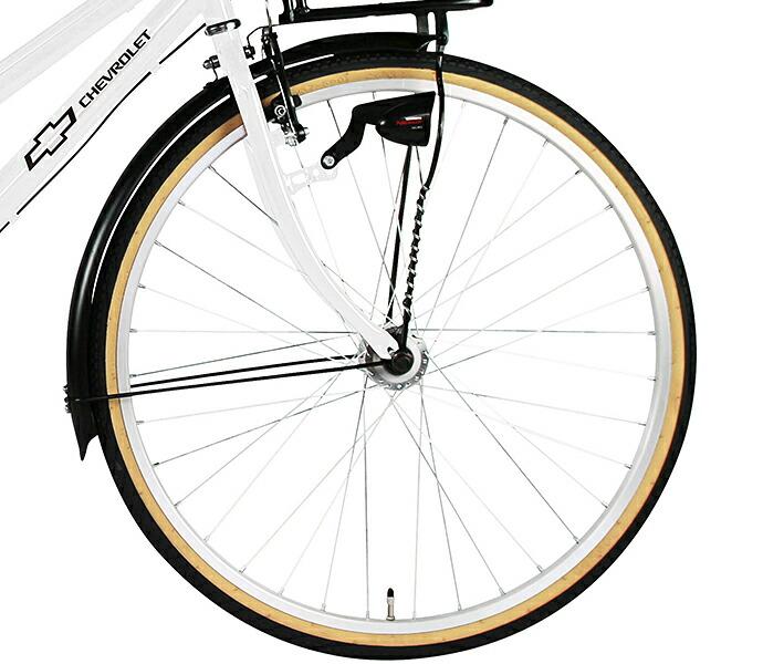 シティサイクル シボレー 自転車 シティクロスバイク シティ車 ホワイト/白26インチ シティサイクル 外装6段変速ギア LEDオートライト、鍵付き CHEVROLET CHEVY シェビー  自転車 シボレー CITY266-SE