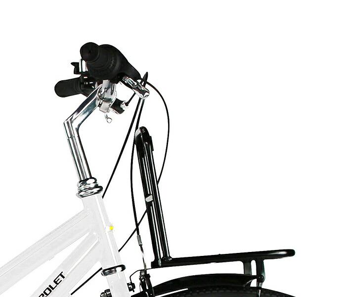 雨の日も安心 傘固定器具付 さすべえセット シティサイクル シボレー 自転車 シティクロスバイク シティサイクル ブラック 黒 26インチ シティ車 外装6段変速ギア LEDオートライト自転車 CHEVROLET CHEVY シェビー CITY266-SE シティクロスバイク