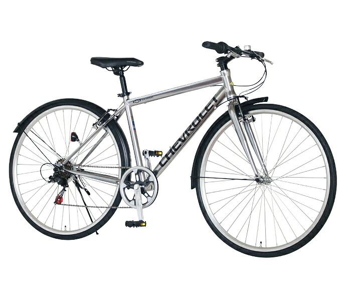 クロスバイク シボレー 自転車 シルバー 700c 外装6段変速ギア CHEVROLET CHEVY シェビー 自転車 シボレー CHEVY METAL CRB7006
