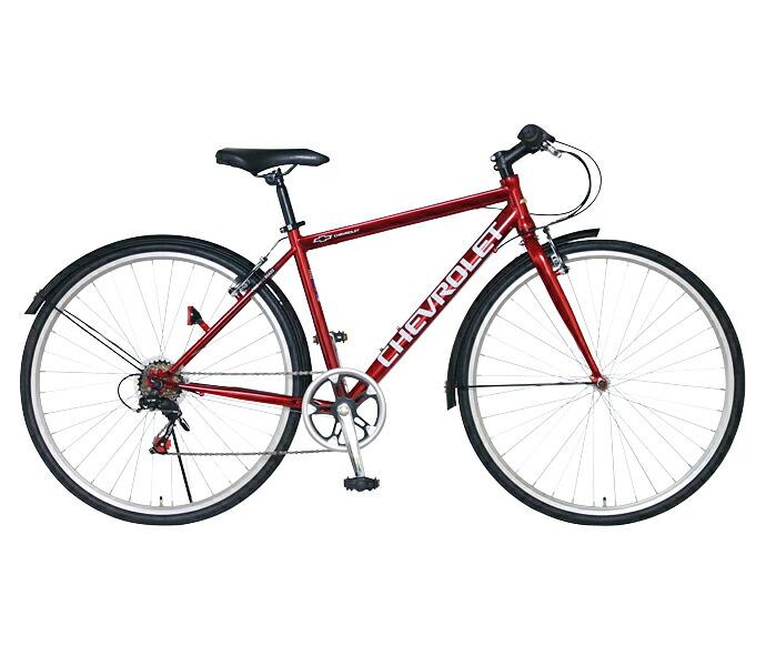 クロスバイク シボレー 自転車 レッド 赤 700c 外装6段変速ギア CHEVROLET CHEVY シェビー 自転車 シボレー CHEVY METAL CRB7006