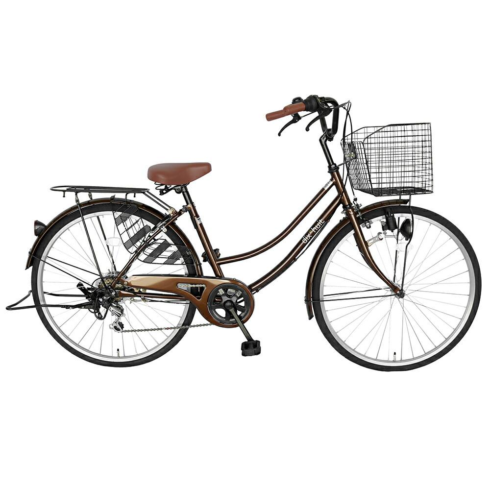 自転車 デザインフレームで人気 サントラストママチャリ 軽快車自転車 ブラウン dixhuit6段変速ギアフレーム ママチャリ 26インチ ギア付、鍵付 ハンドルとサドルが茶色でかわいいと大人気