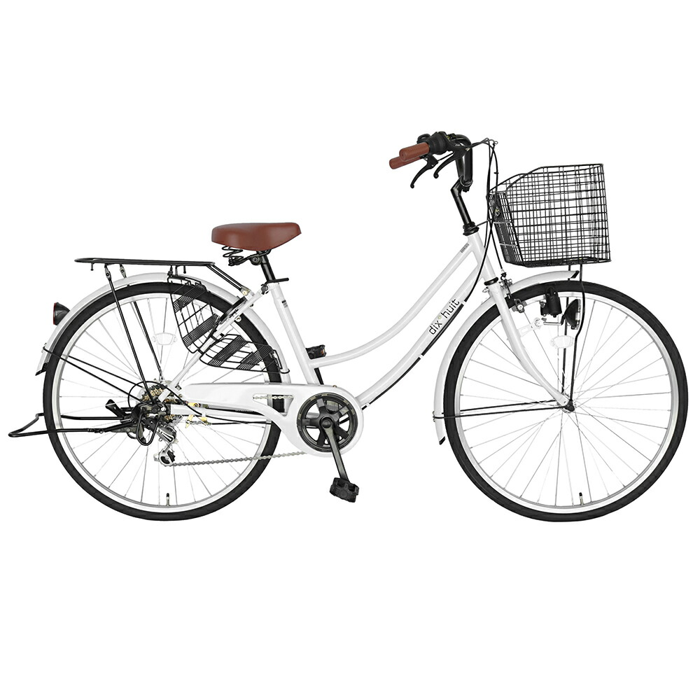 次回入荷未定 自転車 デザインフレームで人気 サントラストママチャリ 軽快車 ママチャリ 自転車 白色/ホワイト dixhuit6段変速ギアフレーム 26インチ ギア付 鍵付 ハンドルとサドルが茶色でかわいいと大人気。
