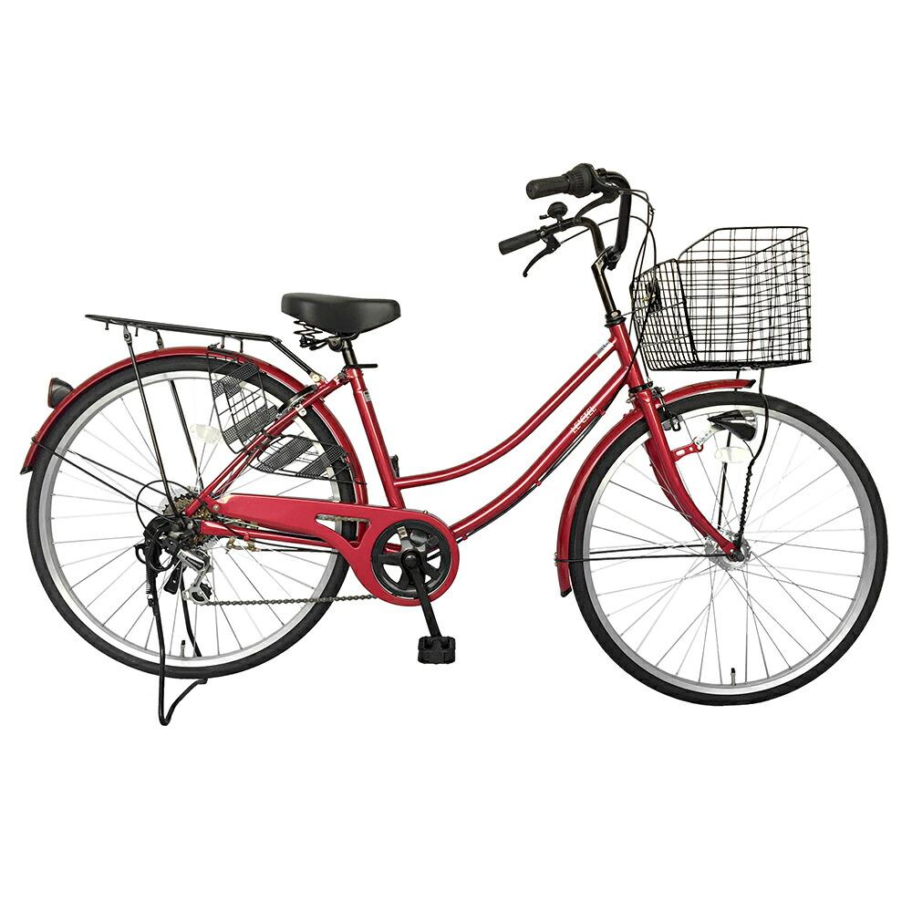 7月上旬以降発送 自転車 26インチ サントラストママチャリ6段変速ギア オートライト ギア付き かぎ付き LECIEL ルシール 激安 レッド 赤