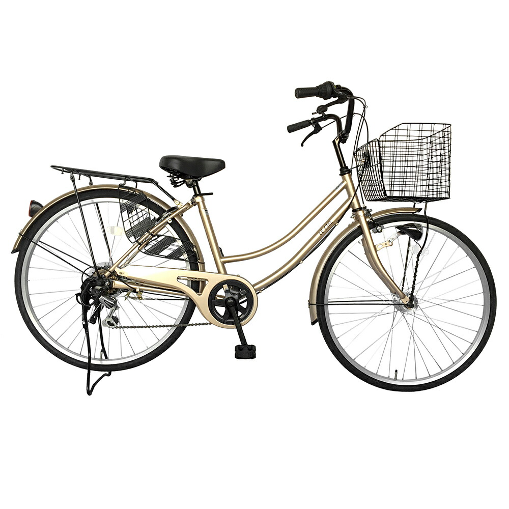 自転車 26インチ サントラストママチャリ6段変速ギア オートライト ギア付き かぎ付き LECIEL ルシール 激安 ホワイトゴールド