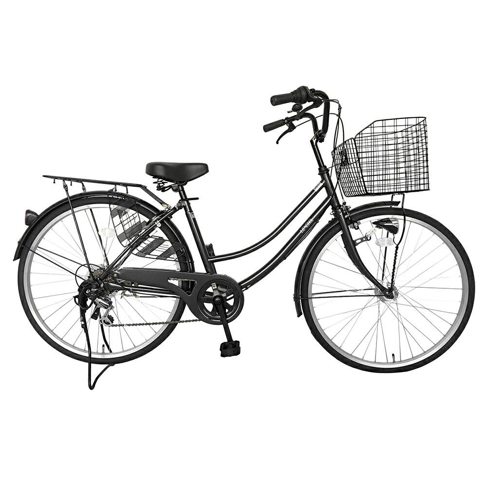 自転車 26インチ サントラストママチャリ6段変速ギア オートライト ギア付き かぎ付き LECIEL ルシール 激安 ブラック