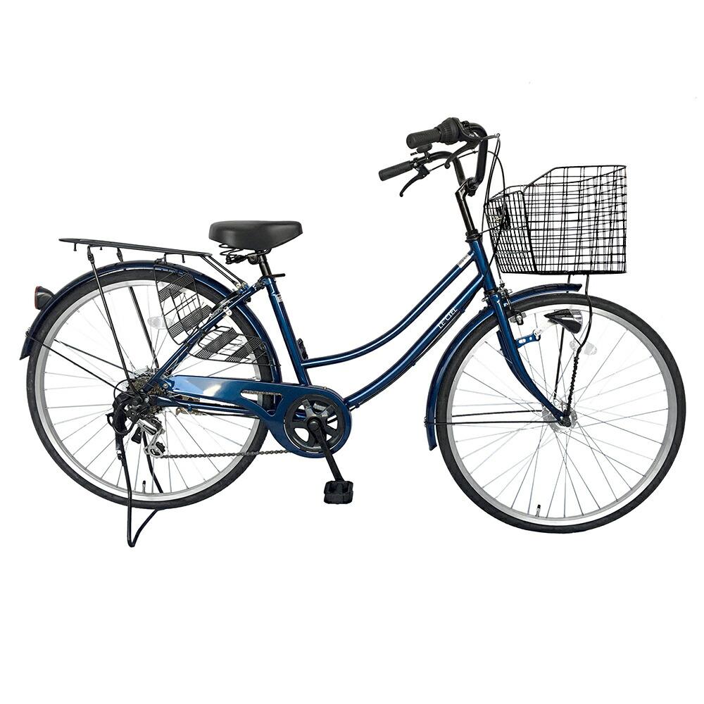 自転車 26インチ サントラストママチャリ6段変速ギア オートライト ギア付き かぎ付き LECIEL ルシール 激安 ネイビー