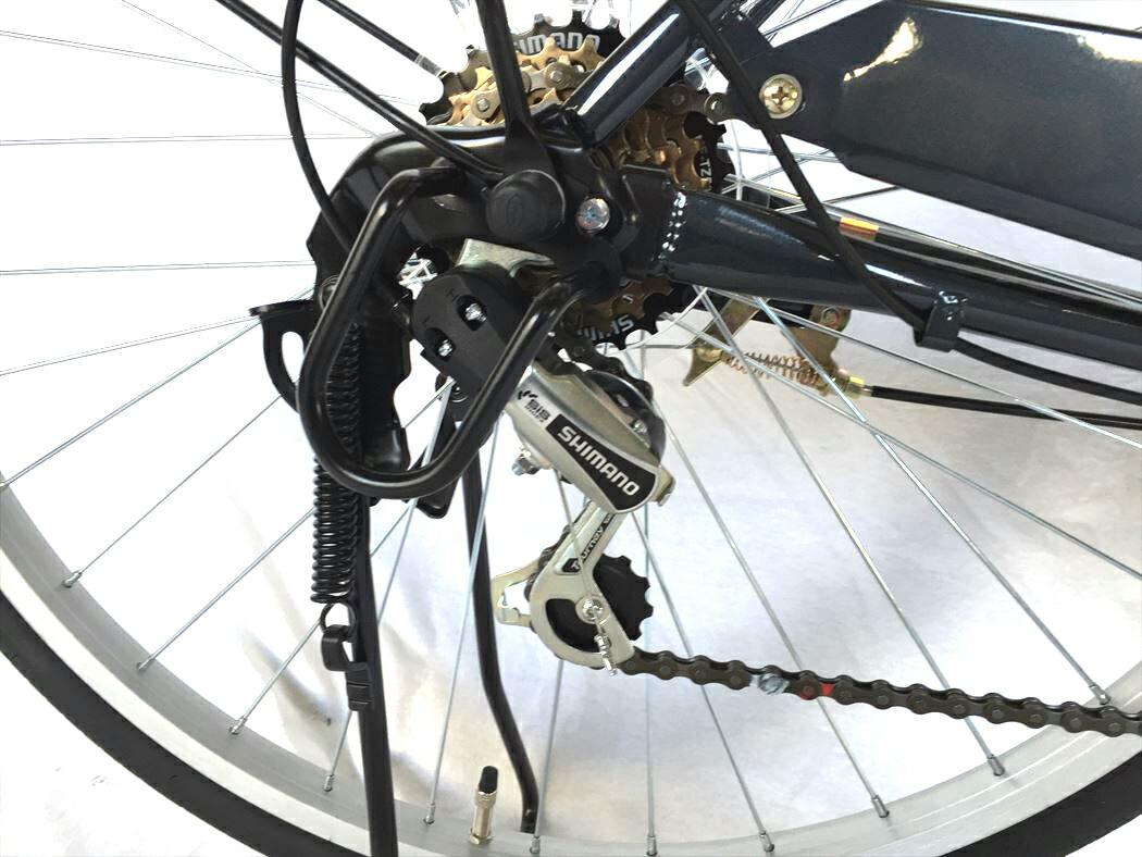自転車 26インチ ママチャリ 6段ギア オートライト