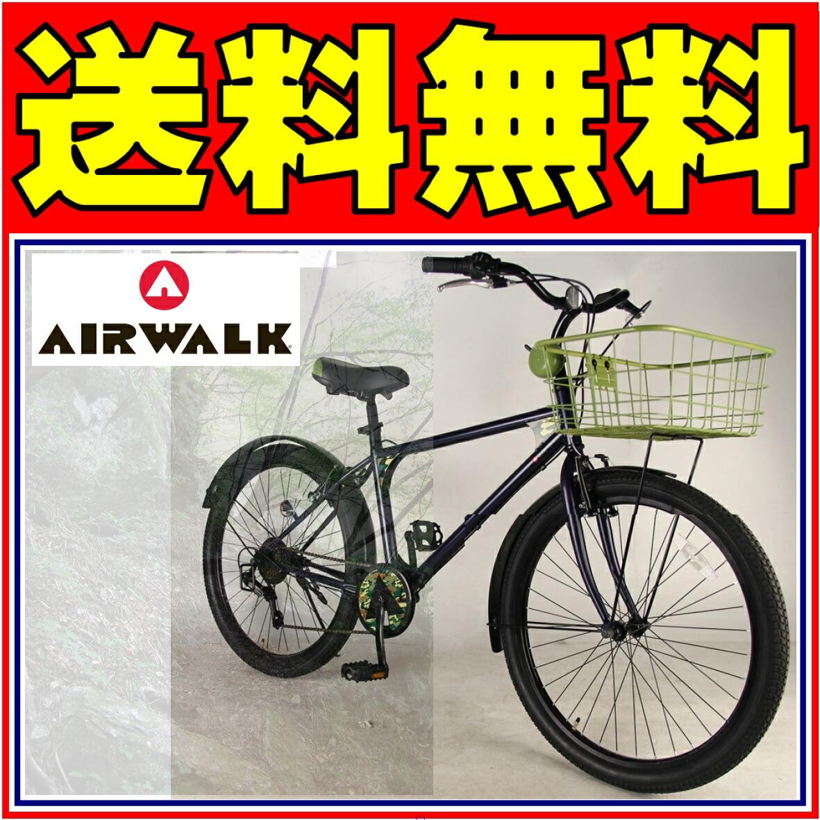 AIRWALK 自転車 ファットバイク ネイビー 紺 街乗りに最適 MTB/BMX 26インチ 外装6段 ファットバイクAIRWALK エアーウォーク 自転車