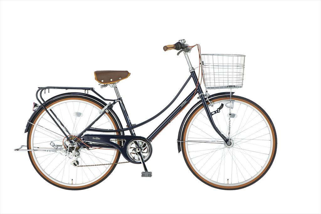 イーストボーイ カジュアルファミリー 自転車 26インチ シティサイクル 自転車 女子高生 女子中学生、女子小学生の通学に最適 2018年モデル ママチャリ シティ車 6段ギア ローラーブレーキ LEDオートライト EASTBOY BAA EB266CF ブルー