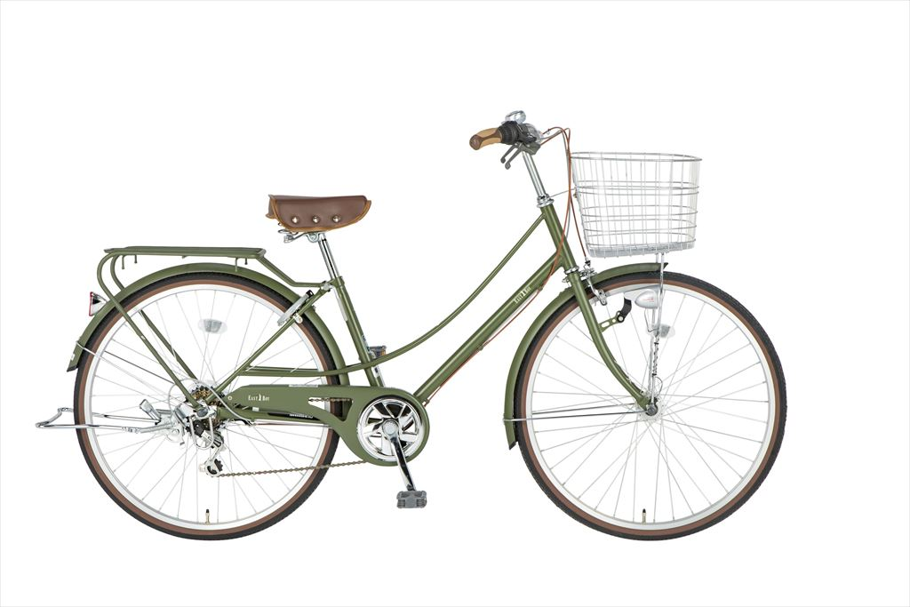 イーストボーイ カジュアルファミリー 自転車 26インチ シティサイクル 自転車 女子高生 女子中学生、女子小学生の通学に最適 2018年モデル ママチャリ シティ車 6段ギア ローラーブレーキ LEDオートライト EASTBOY BAA EB266CF マットオリーブ