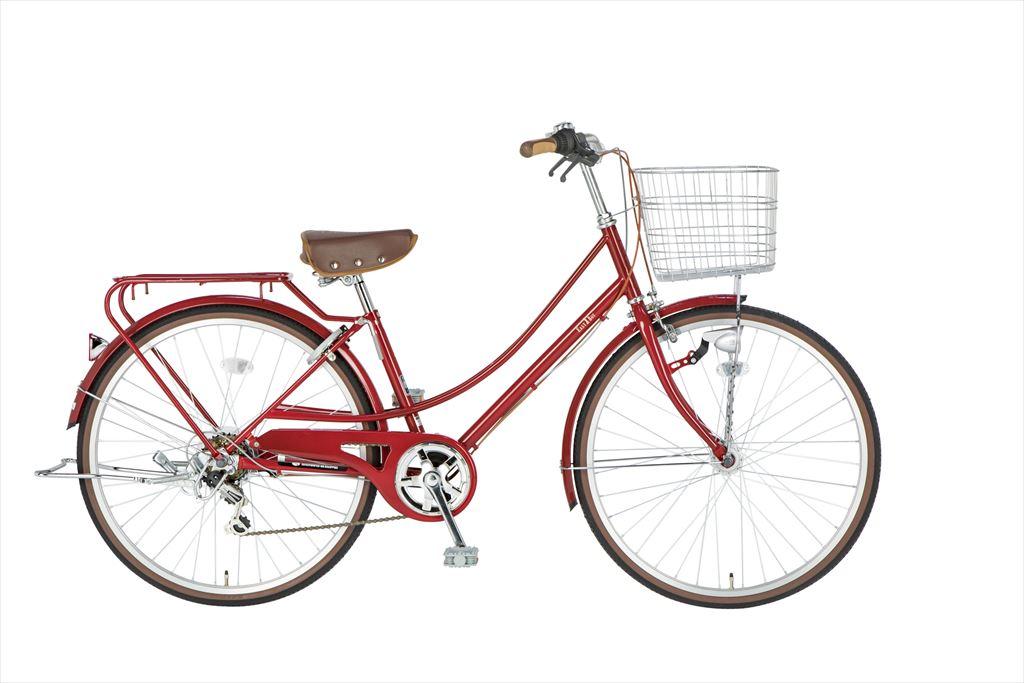 イーストボーイ カジュアルファミリー 自転車 26インチ シティサイクル 自転車 女子高生 女子中学生、女子小学生の通学に最適 2018年モデル ママチャリ シティ車 6段ギア ローラーブレーキ LEDオートライト EASTBOY BAA EB266CF レッド