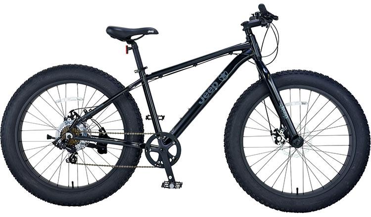 ジープ 自転車 ファットバイク JEEP 26インチ 外装7段変速ギア ディスクブレーキ 2018年モデル マウンテンバイク 18'JE-267FT 26×4.0Tire 7S ALLOY FAT-BIKE ブラック 黒