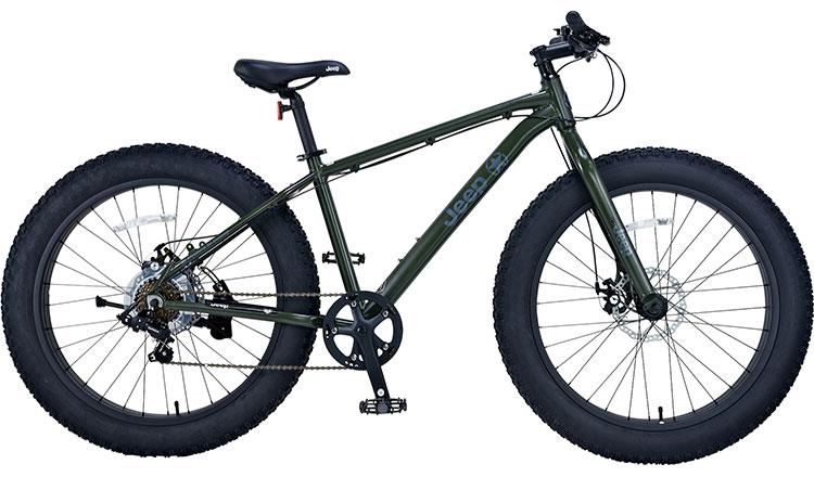 ジープ 自転車 ファットバイク JEEP 26インチ 外装7段変速ギア ディスクブレーキ 2018年モデル マウンテンバイク 18'JE-267FT 26×4.0Tire 7S ALLOY FAT-BIKE オリーブ
