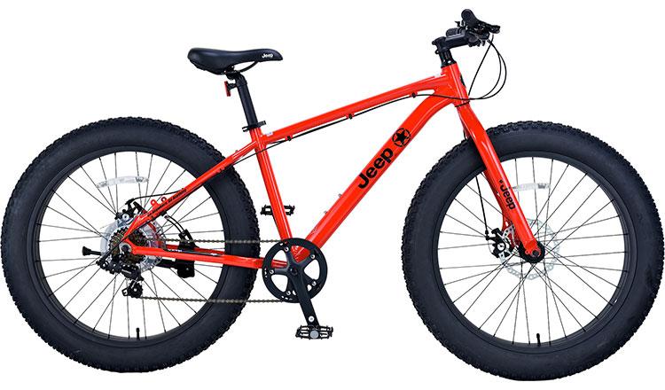 ジープ 自転車 ファットバイク JEEP 26インチ 外装7段変速ギア ディスクブレーキ 2018年モデル マウンテンバイク 18'JE-267FT 26×4.0Tire 7S ALLOY FAT-BIKE レッド 赤