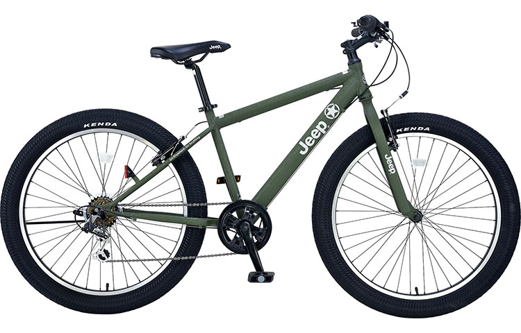 ジープ 自転車 ファットバイク JEEP 26インチ 外装7段変速ギア ディスクブレーキ 2018年モデル マウンテンバイク 18'JE-266FT 26×3.0Tire 6S FAT-BIKE セミファットタイヤ オリーブ